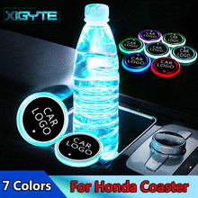 2X Baru Fashion Mobil Styling Logo Lampu LED Piala Drink Holder Anti Slip Untuk Honda MUGEN Power Accord CRV HRV jazz Aksesoris(China)