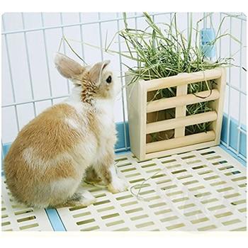 Small Animals Cage Accessories- Rabbit Hay Feeder Rack,Natural Wooden Hay Manger, Hamster Gerbil Rat Lookout Platform Sport Play 5
