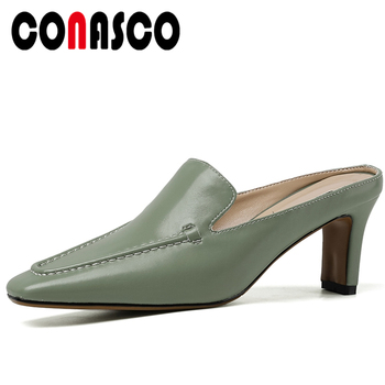 CONASCO Fashion Concise Casual Genuine Leather Women Sandals Mules Pumps Slippers 2020 Summer New Arrival High Heels Shoes Woman