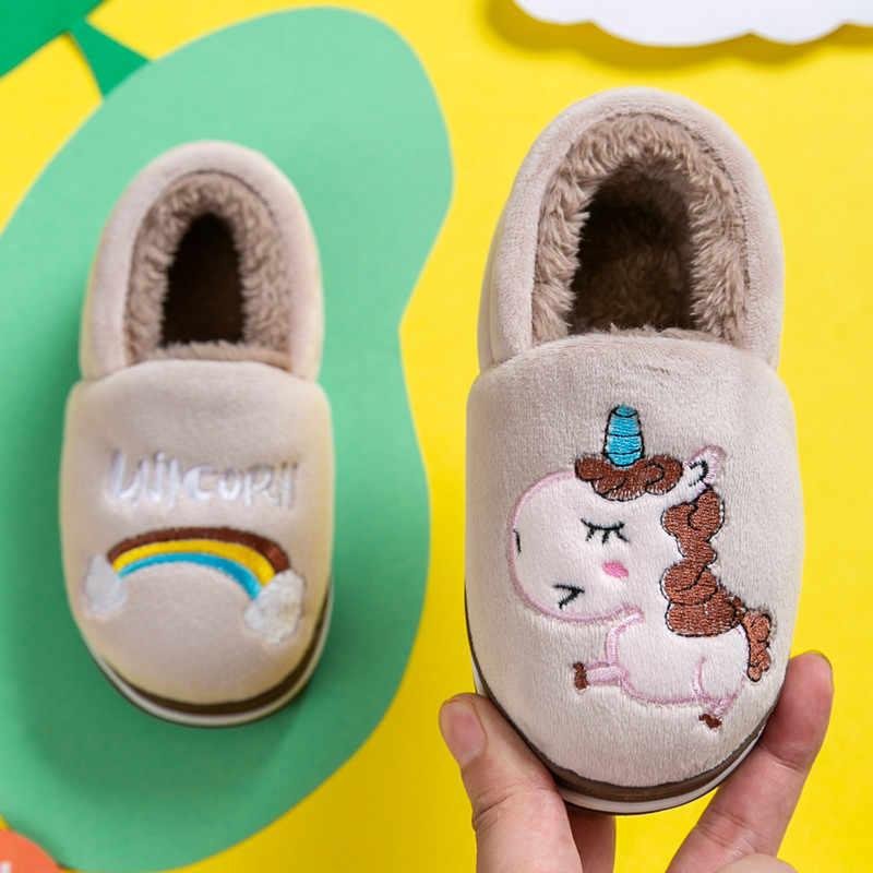 Kocotree Winter kids Slippers Children Unicorn Non-slip Soft Girls Home Shoes Kids Boys Cartoon Slippers Indoor Floor Shoes