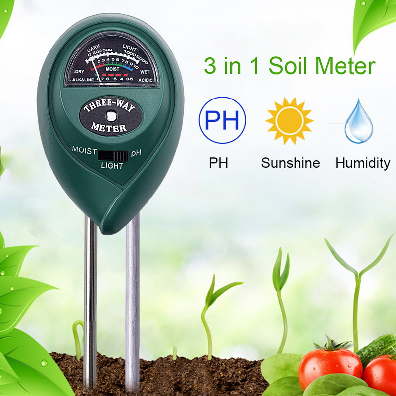 Moisture Measuring humidity Light Meter Hydroponics Analyzer Gardening Detector Hygrometer 3 in 1 Plant Flowers  PH Tester