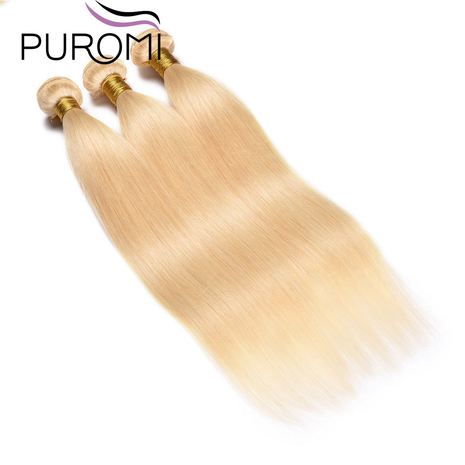 Puromi 613 Honey Blonde 3/4 Malaysian Hair Bundles 100% Straight Weave Remy Human Hair Weft 10-26 Inch Free Shipping image