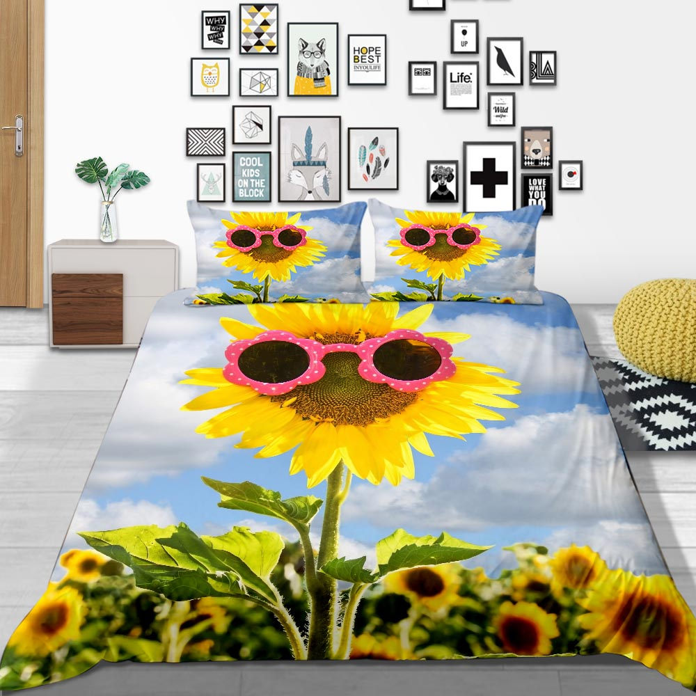 Thumbedding Sunflower Bedding Set Sunglass 3D Printed Duvet Cover Nature Queen Full Twin Single Double Comfortable Bed Set