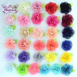 Nishine 10 шт./лот лист из шифона с цветами с цветочным узором в виде роз, ручная работа, для маленькой девочки, аксессуары для волос, Искусственны...