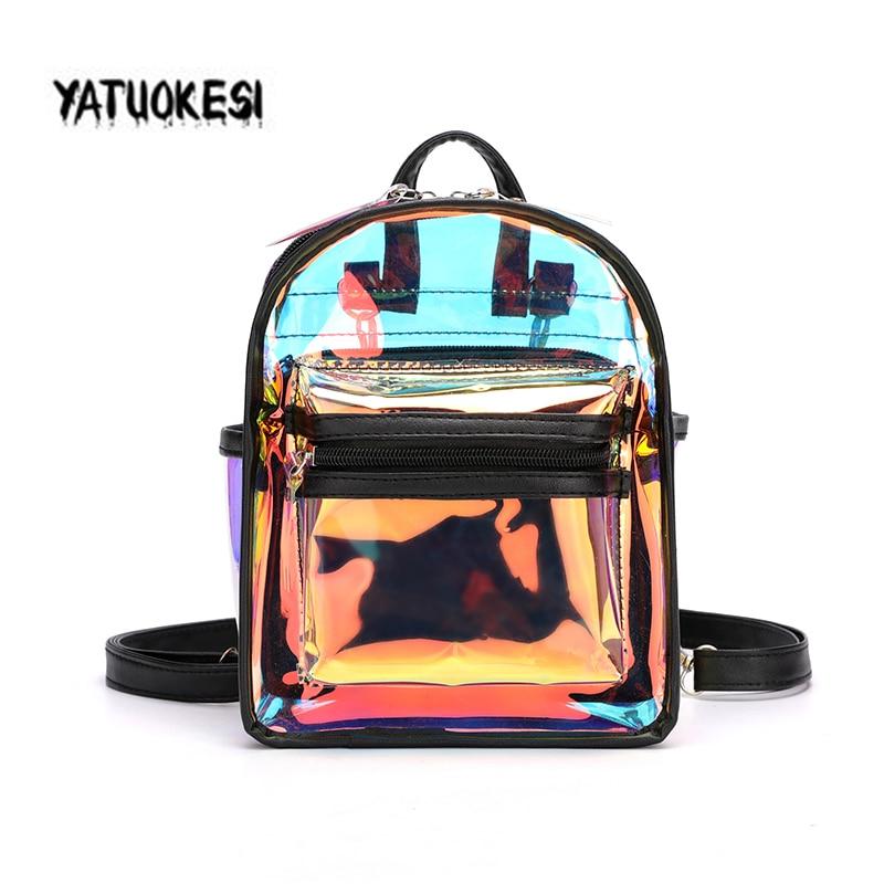2020 New Laser Transparent PVC  Mini Clear Backpack For Women Shoulder Bag Candy Colorful Travel Transparent Waterproof Backpack