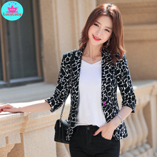 Plaid Suit Jacket Print Slim Female Casual Single-Breasted Summer New No Notched Three-Quarter