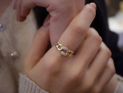 18K Solid Yellow Gold Jewelry(AU750) Women Ins Blogger Popular Fashion Personality Little Treasure Of Fingers Diamond Chain Ring