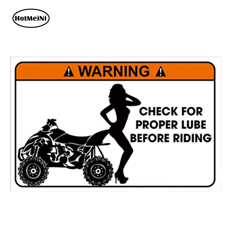 HotMeiNi 13cm X 7cm Car Styling Glossy Vinyl Sticker Funny Warning Sticker Quad ATV Bike Joke Gift Waterproof DIY Car Sticker