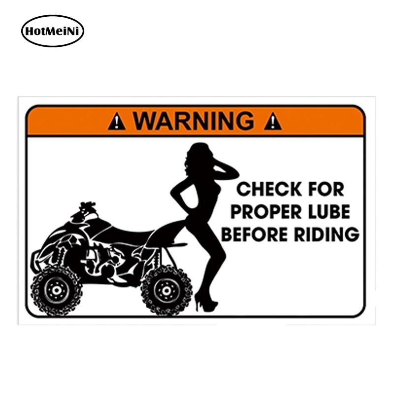 HotMeiNi 13cm X 7cm Car Styling Glossy Vinyl Sticker Funny Warning Sticker Quad ATV Bike Joke Gift Waterproof DIY Car Sticker