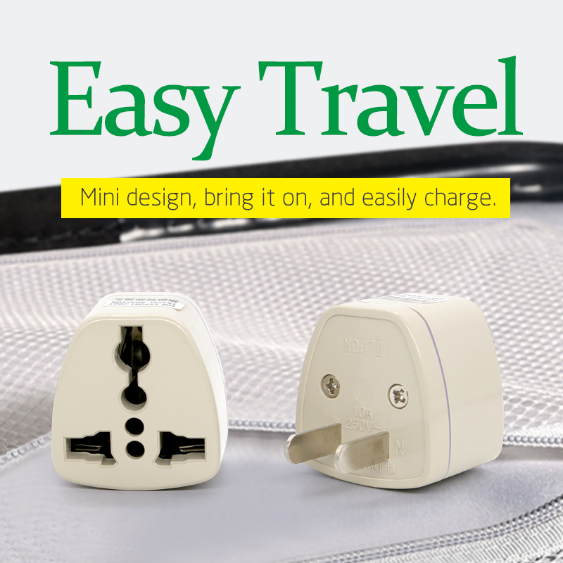 High Quality gray Universal UK EU AU IT Converter to US USA 2 Pin AC Travel Power Plug Transform Charger Adaptor Connector