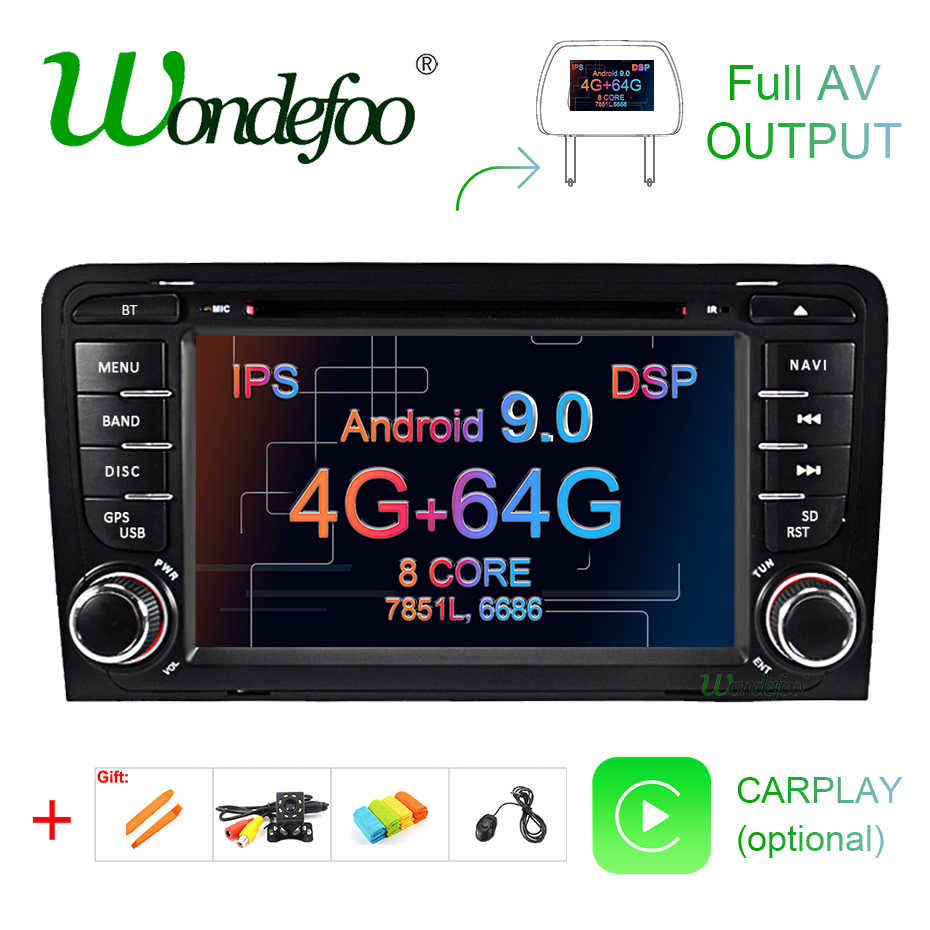 IPS DSP 4G 64G Android 9,0 coche DVD GPS para Audi A3 8P 2003-2012 S3 2006-2012 RS3 Sportback 2011 reproductor multimedia radio estéreo