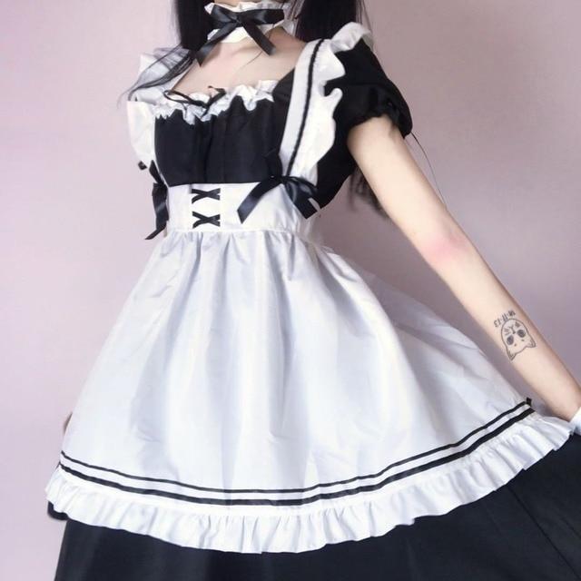 QWEEK Kawaii Maid Dress Lolita Maid Outfit Cute French Maid Cosplay Costumes Uniform Japanese Puff Sleeve Bandage Dress Waitress 4
