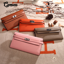 Genuine Leather Wallet  2019 Quality Cowhide Leather Long Women Wallets Metal Lock Clutch Purse Party Wallet Female Card Holder wilicosh classic crocodile pattern wallets cowhide leather long design women wallet genuine leather japan purse clutch wl425