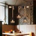 Лофт промышленный подвесной светильник с пеньковой веревкой  домашний кухонный светильник  черная клетка  железная деревенская лампа  свет...