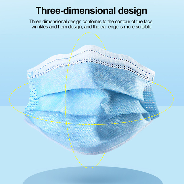 Fast delivery Hot Sale 3-layer mask Face Mouth Masks Non Woven Disposable Anti-Dust Meltblown cloth Masks Care Elastic Earloop 3