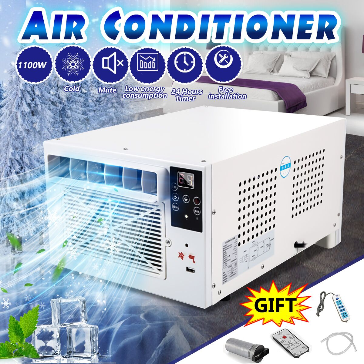 1100W Desktop Air Conditioner Cold/Heat Dual Use 220V/AC With Remote Control LED Display Panel Portable Air Cooling Heating Fan