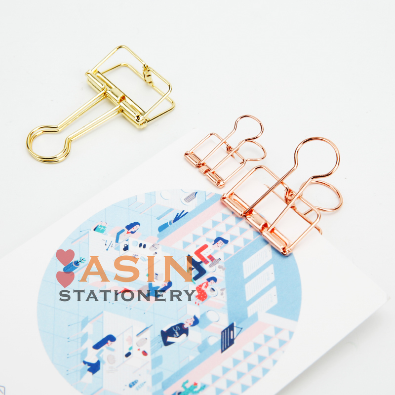 12pcs/bag Rose Gold Hollowed Out Design Binder Clip For Office School Paper Organizer Stationery Supply Decorative Metal Clips