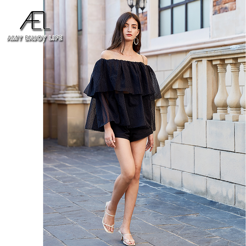 AEL Summer Ladies Black Chiffon Blouses Women sexy Tulle off shoulder tops loose fashion ruffle Solid dot top