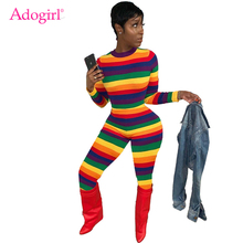 Adogirl S-XXL Colorful Stripe Rainbow Jumpsuit O Neck Long Sleeve Skinny Romper 2019 Autumn New Wome