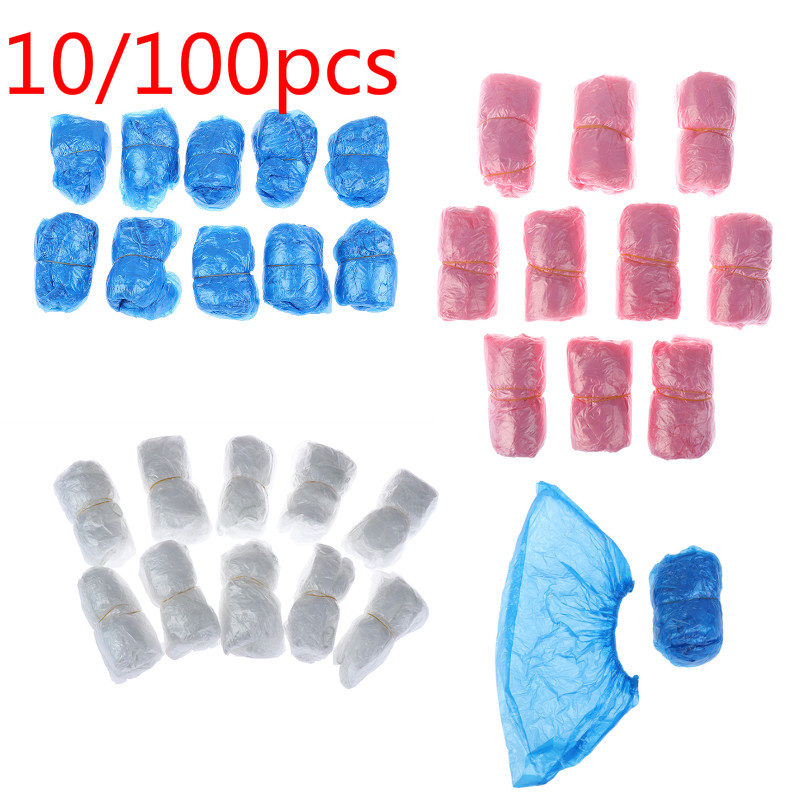 10/100PCS Medical Waterproof Anti Slip Boot Covers Plastic Disposable Shoe Covers Overshoes Safety Drop Shipping