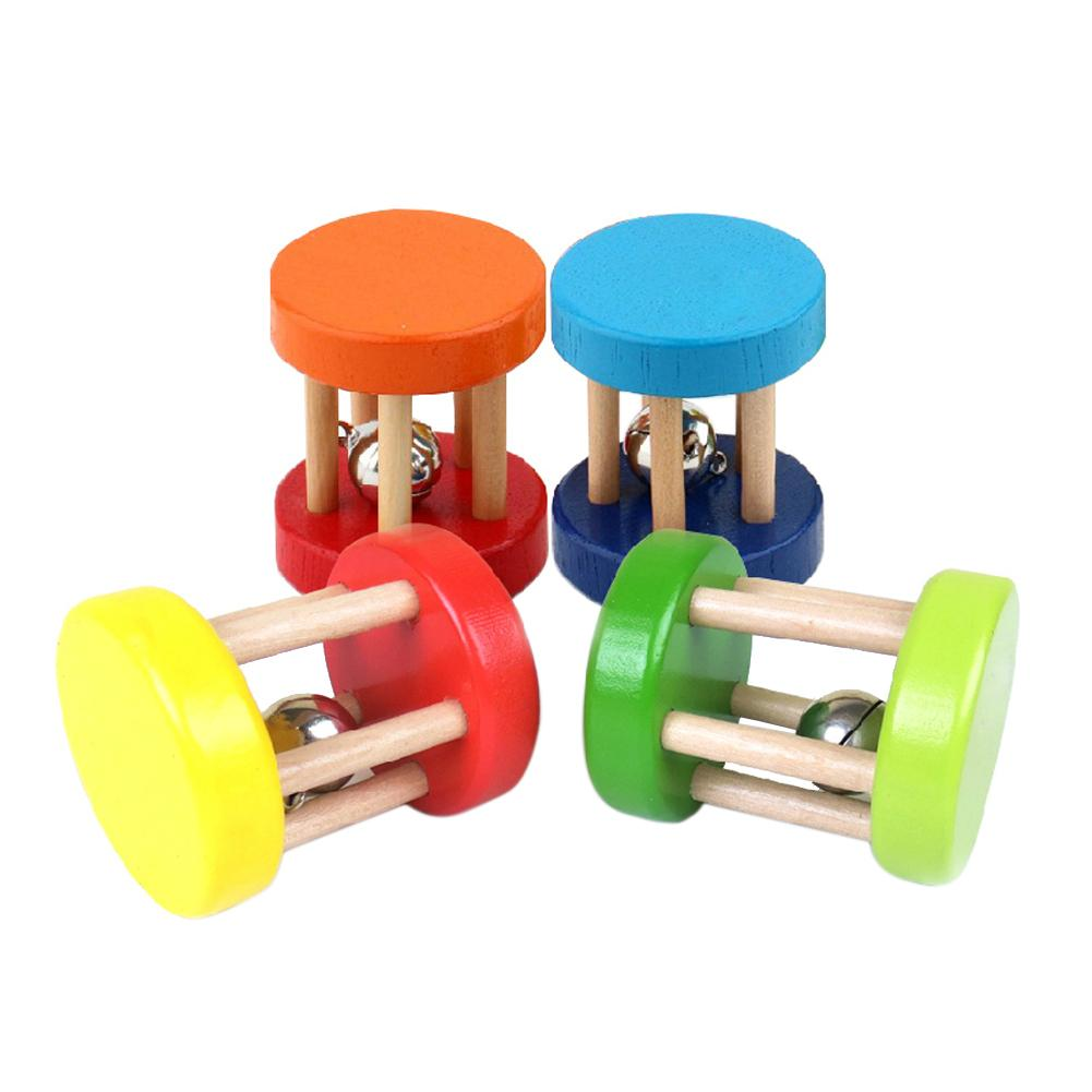 1PC Baby Toys Rattles Ring Bell Music Intellectual Educational Toys For Children Hand Rattle Baby Wooden Wood Toy Random Color