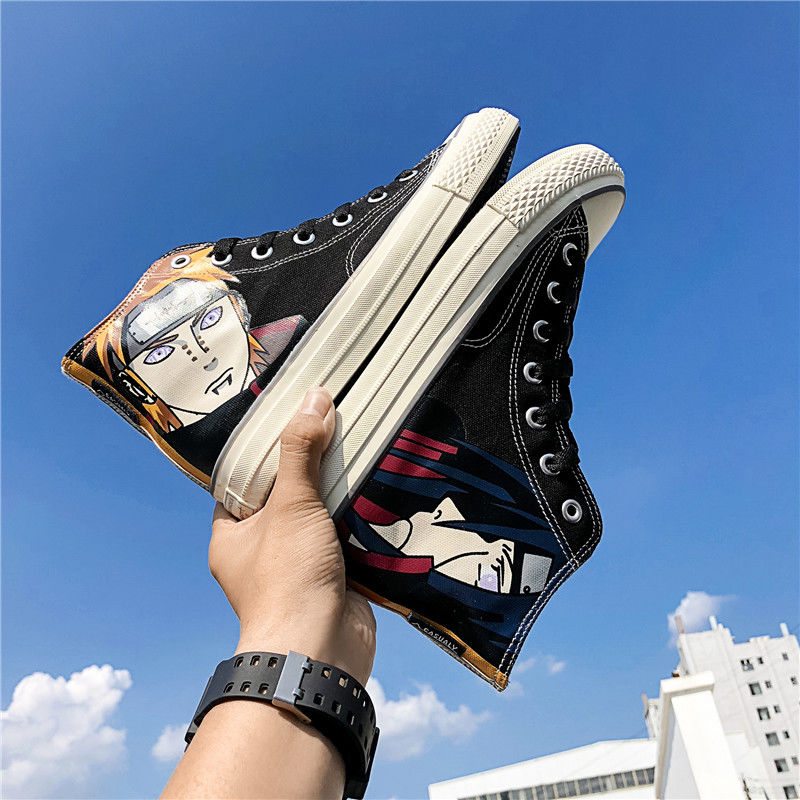Japan New Fashion Naruto HIP-HOP Breathable Cartoon High Mens Canvas Sneakers  High Top Vulcanized Shoes Men Canvas Casual Shoes