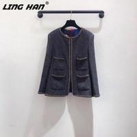 LINGHAN Fall/Winter Solid Color Jacket Long Sleeve Chain edge Vintage Wool tweed Jacket Women's Casual Slim Jacket Silk lining