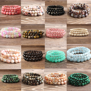 LanLi natural Jewelry 6/8/10/12 mm blue jades Loose Bead bracelet Fashion accessories for men and wo