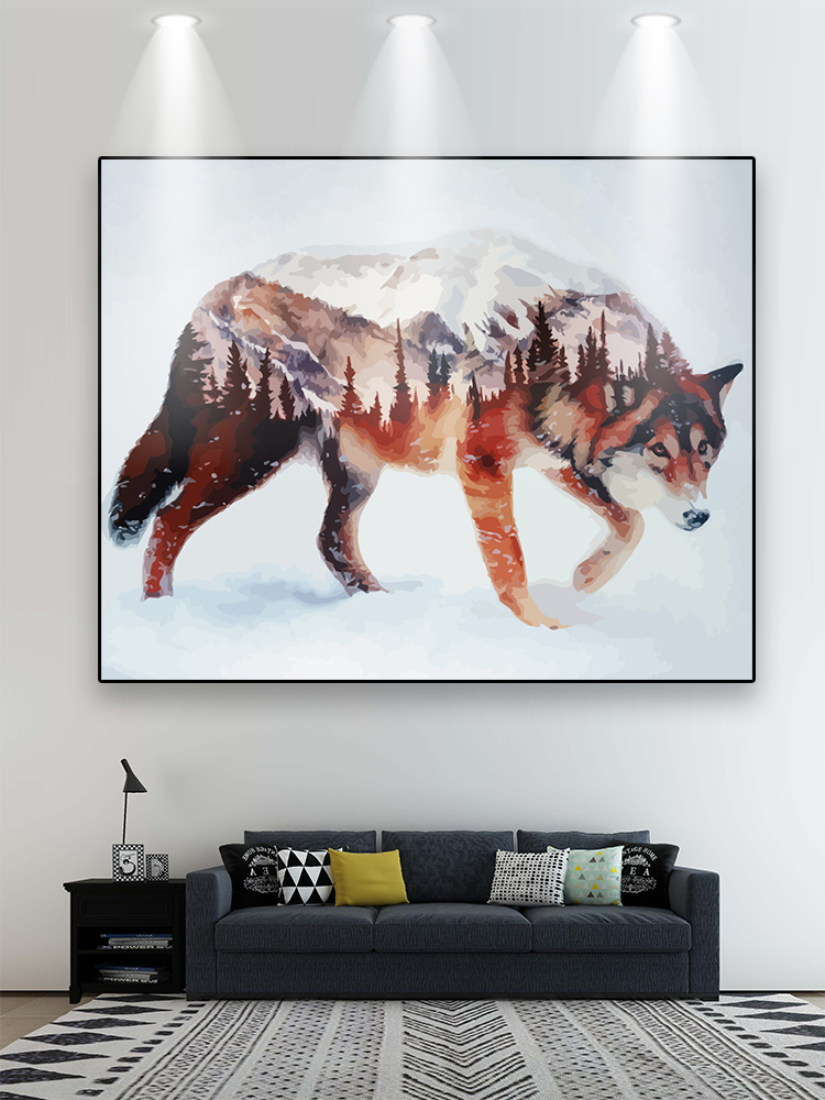 RUOPOTY Calligraphy-Painting Numbers Wolf Wall-Art-Picture Home-Decors by for DIY