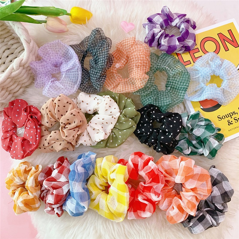 21 Colors Chiffon Cloth Scrunchie Women Girls Elastic Hair Rubber Bands Accessories Gum For Women Tie Hair Ring Rope Ponytail