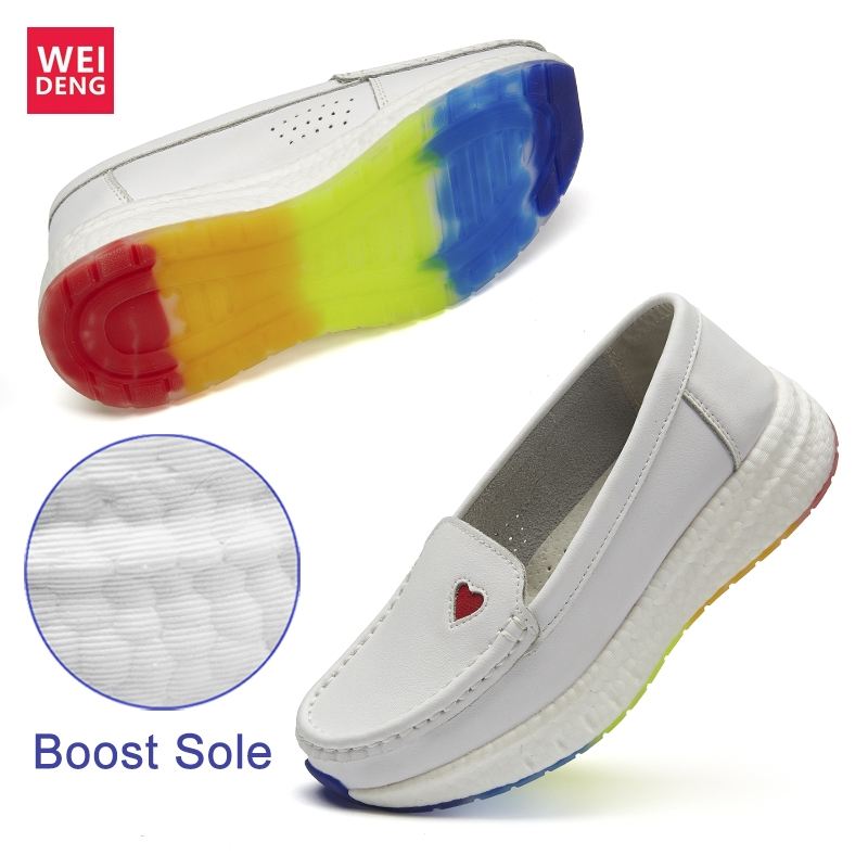WeiDeng Ultra Boost Non Slip Professional Nurse Shoes Genuine Leather Antiskid Flat Air Insert Working Soft Sole Loafers Women image