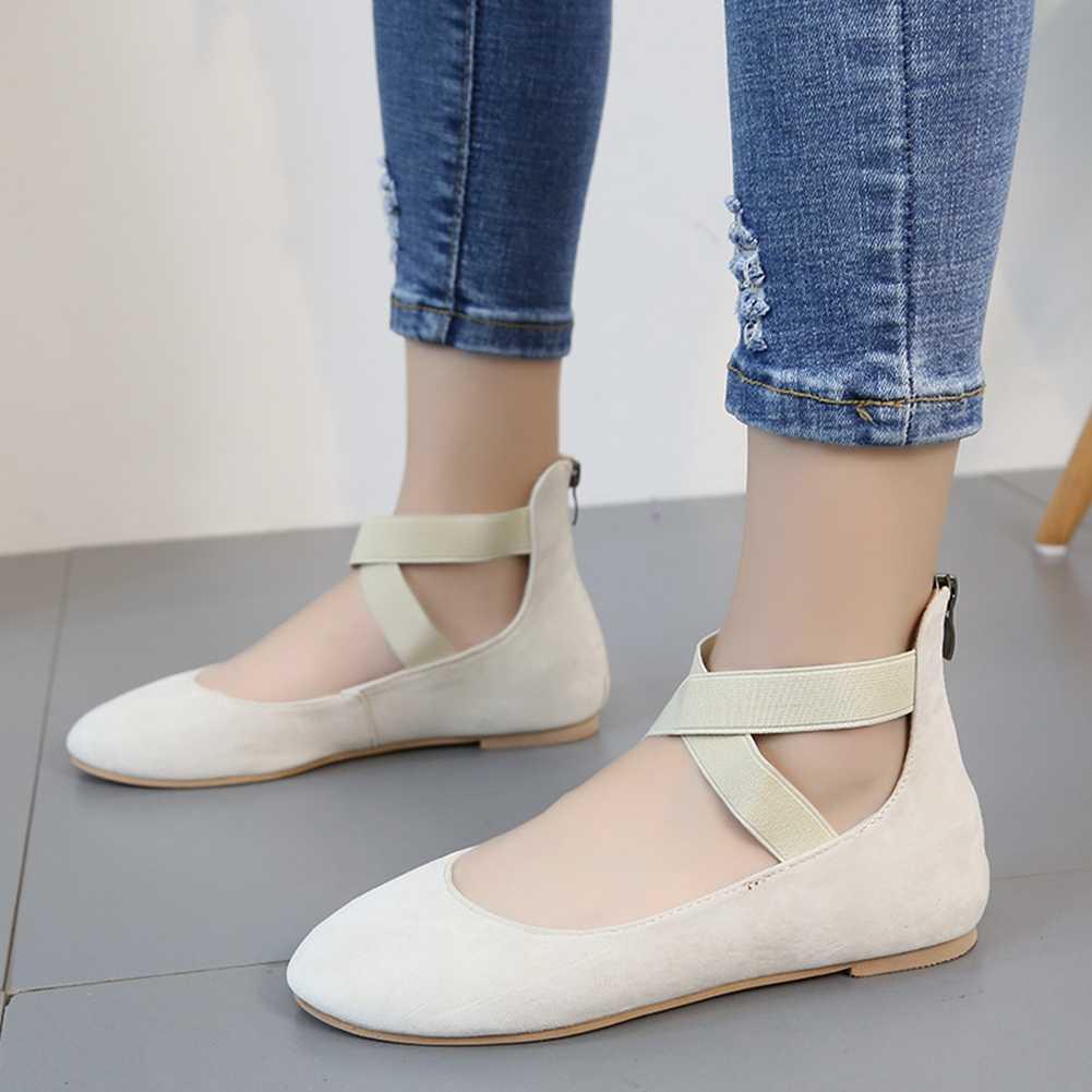 KarinLuna 2020 yeni gelenler büyük boy 43 leopar Mary Janes kadın çizmeler yuvarlak ayak düşük topuklu Zip Flats yaz rahat kadın ayakkabı