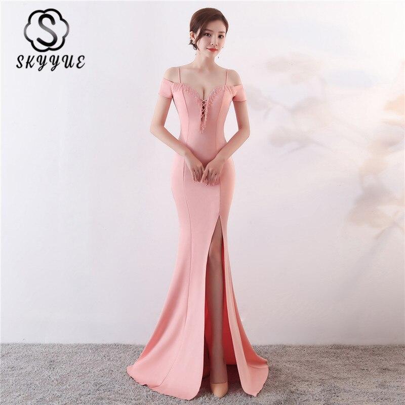 Skyyue Robe De soirée à manches courtes sirène épaule dénudée femmes robes De soirée col bateau cristal parole longueur Robe De soirée C068