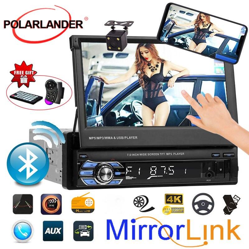 Retractable1 DIN 7 pouces autoradio lien miroir HD écran tactile MP5 MP4 lecteur Bluetooth USB/TF/FM Support caméra arrière 3 langues