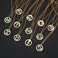 DOTIFI для женщин Элегантный Зодиак Созвездие 12 Созвездие подвеска ожерелье из нержавеющей стали золото серебро JewelryT173-T196