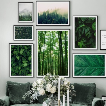 Green Forest Leaves Fog Mountain Quotes Wall Art Canvas Painting Nordic Posters And Prints Pictures For Living Room Decor