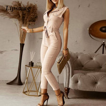 Office Lady Button Sleeveless Summer Jumpsuit Sexy Pockets Cargo Pants Playsuit Women Fashion Tie-Up Belted Beach Overall Romper