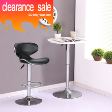 Clearance Sale 2pcs/set Black Butterfly Shape PU Leather Backrest Adjusted Rotatable Bar Chairs Bar Stools Bar Accessories HWC