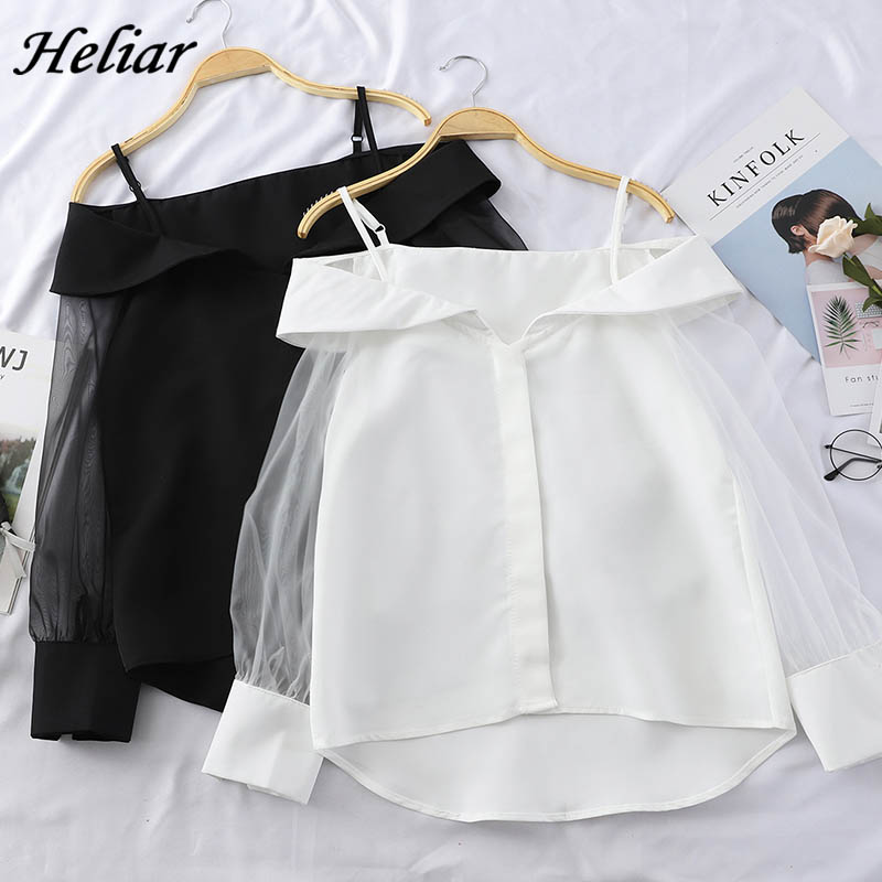 HELIAR Chiffon Shirt Transparent Sleeve Slash Shoulder Spaghetti Tops 2020 Spring Buttoned Up Blouse For Women Fashion Shirt