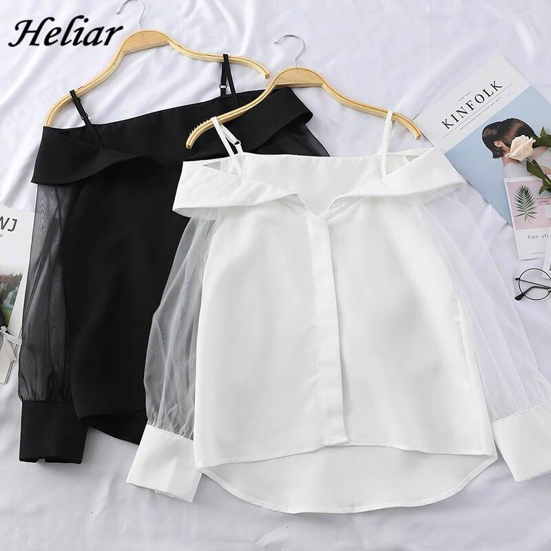 HELIAR Chiffon Shirt Transparent Sleeve Slash Shoulder Spaghetti Tops 2020 Spring Buttoned Up Blouse For Women Fashion Shirt
