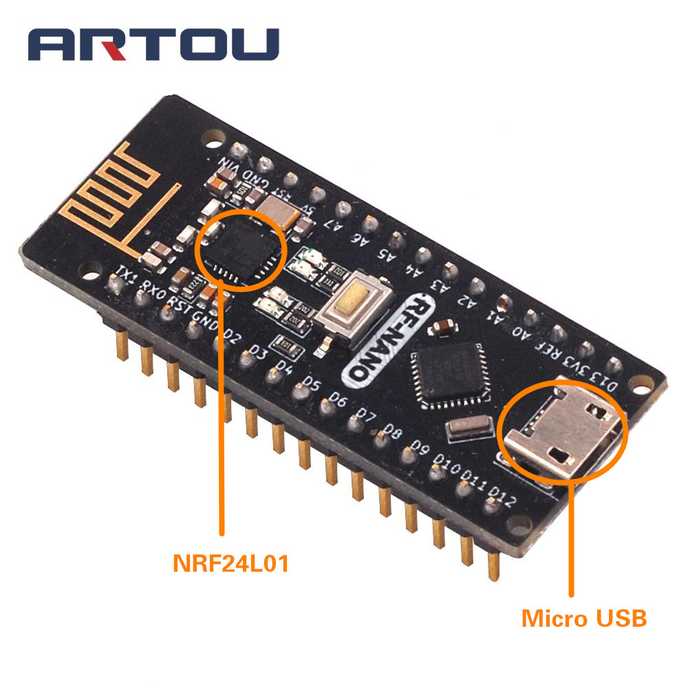 RF-Nano плата для Arduino Nano V3.0 Micro USB ATmega328P QFN32 5 в 16 м CH340 Integrate NRF24L01 + 2,4G Wireless CH340