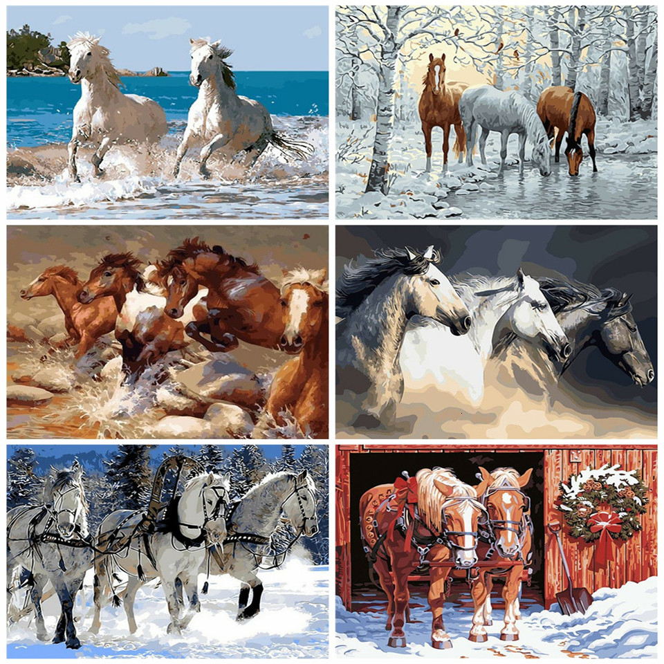 AZQSD Horse DIY Painting By Numbers Kit Animals Acrylic Coloring By Numbers For Adult Unique Gift Home Decors Arts