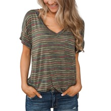 2019 Summer Simple Casual Style Women T-shirt Striped Print Short-sleeved Loose Beautiful Comfortable