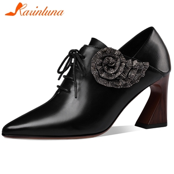 Karinluna New Fashion Genuine Cow Leather High Heels Pointed Toe Shoes Woman Pumps Lace-Up Strange Style Office Lady Pumps Women