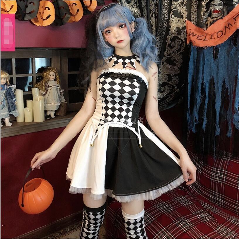 2019 Cos Retro Gothic Halloween Costume Circus Performance Costume Clown Costume Cosplay Sweet Dress Lolita CosLoli Dress