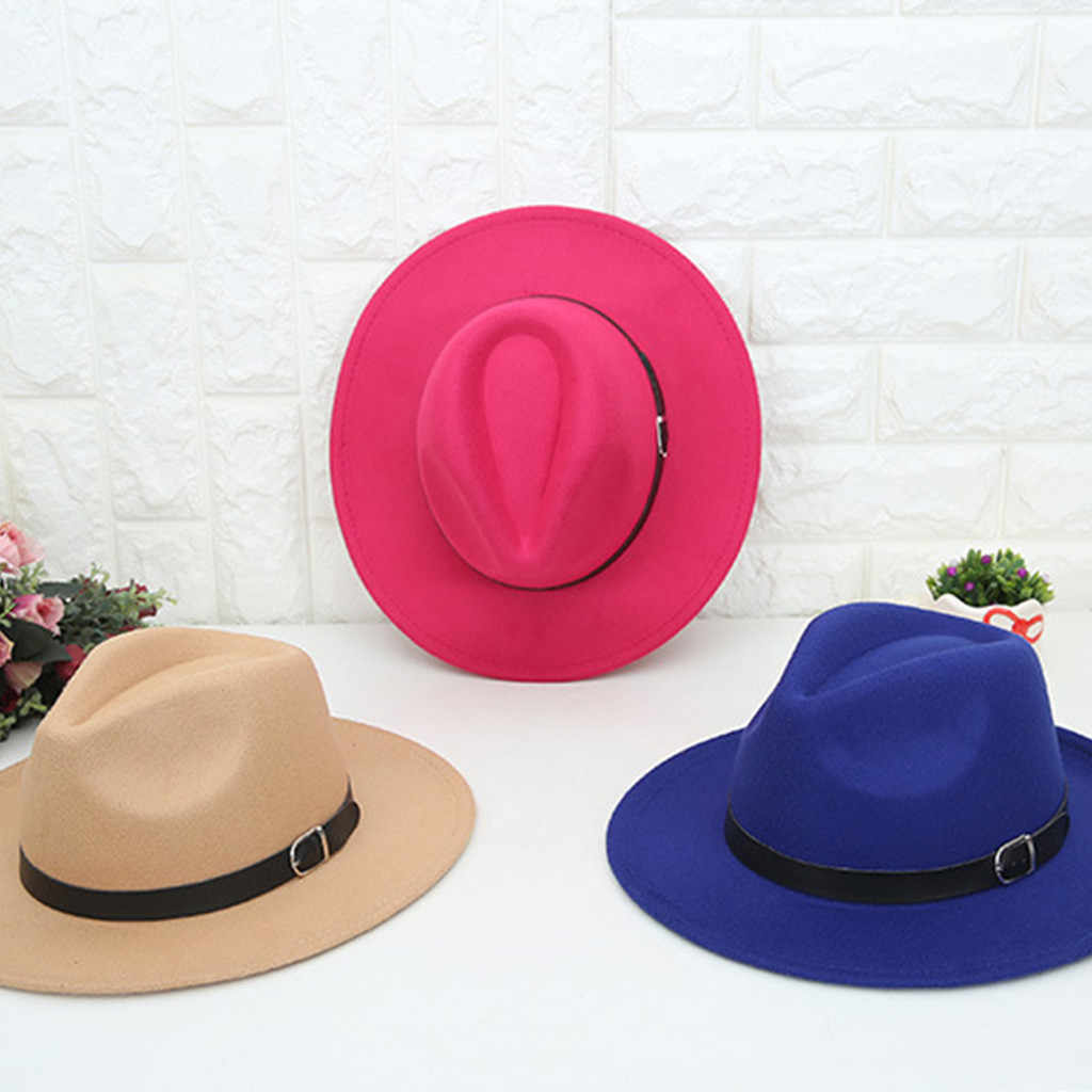 Women's Crushable Wool Fedoras Felt Outback Hat Panama Hat Wide Brim with Belt hats sombrero mujer fedora women hat chapeu