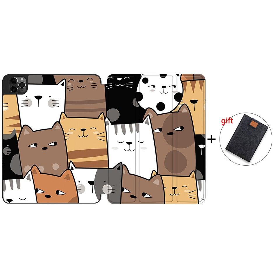 IPTPU17 Khaki MTT Case For iPad Pro 12 9 inch 4th Generation Tablet 2020 Soft TPU PU Leather