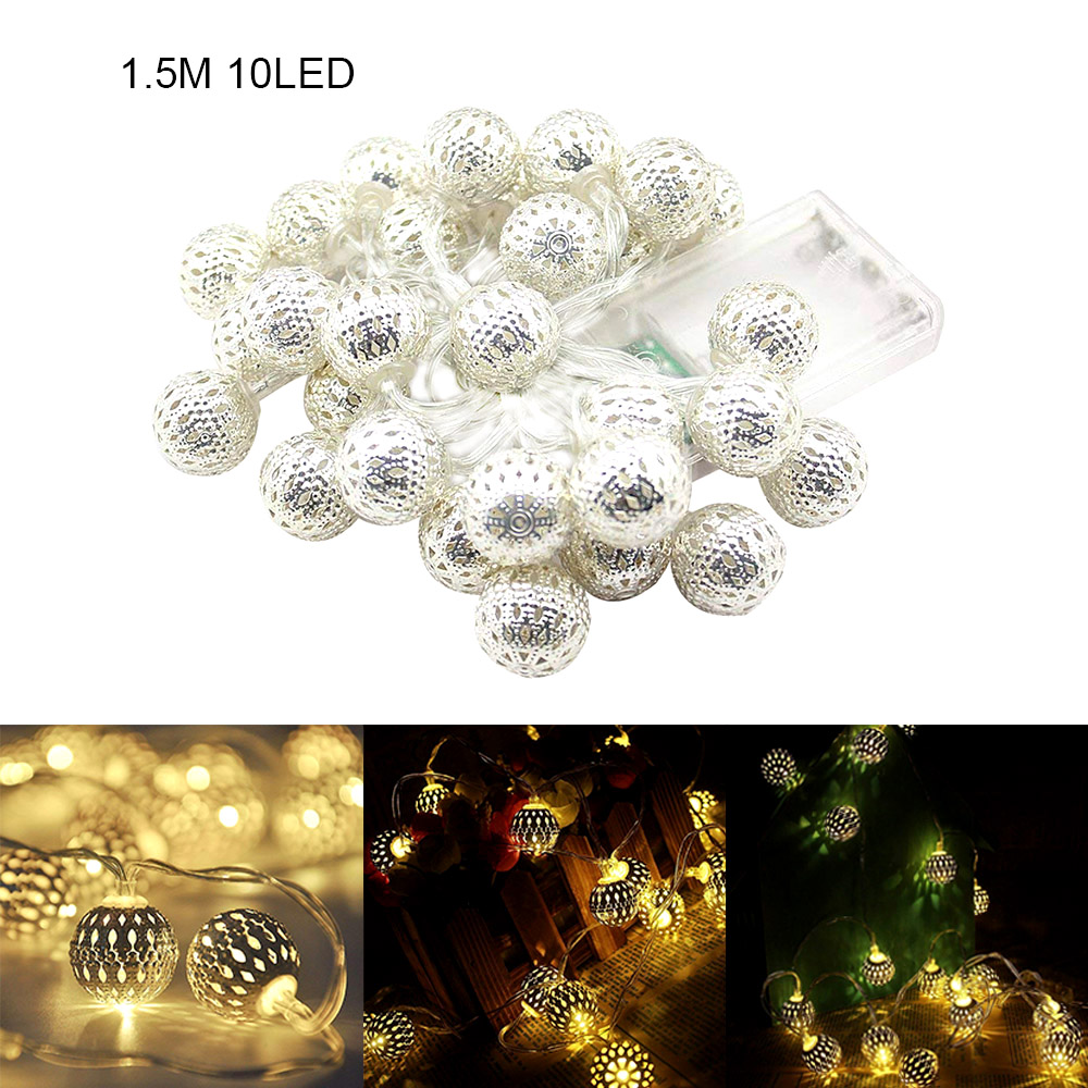 Hollow Ball String Light LED Fairy String Lights Operated For Indoor Party Patio Wedding Festival Christmas Tree Decro Garland