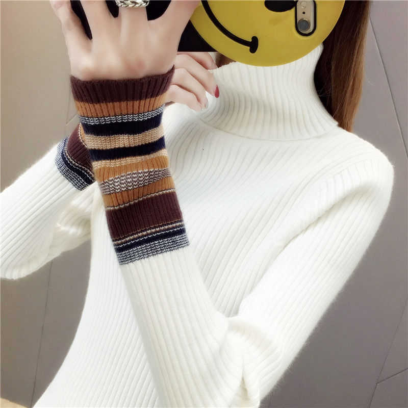 Elastic Sweaters Long-Sleeve Female Pullovers Turtleneck Winter Autumn Women Clothes Jumper  Streetwear Knitted Tops Black Red S