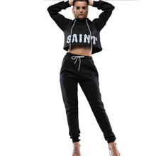 Women Two Piece Outfits Womens Hooded Open-Neck Sweater Set Two-Piece Jogging Femme Club 2 for